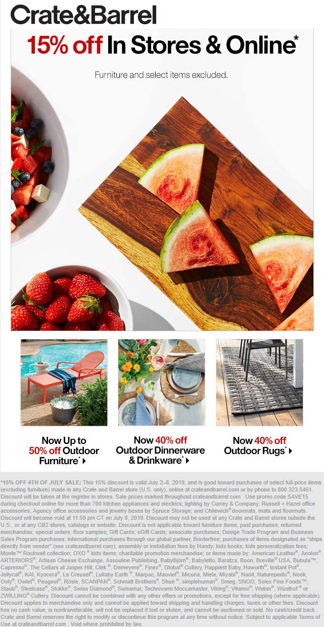 Crate & Barrel Coupon July 2019 15% off at Crate & Barrel, ditto online