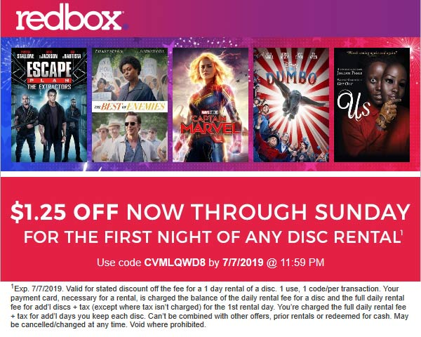 Redbox Coupon January 2020 $1.25 off any rental at Redbox via promo code 5WGJTXV9