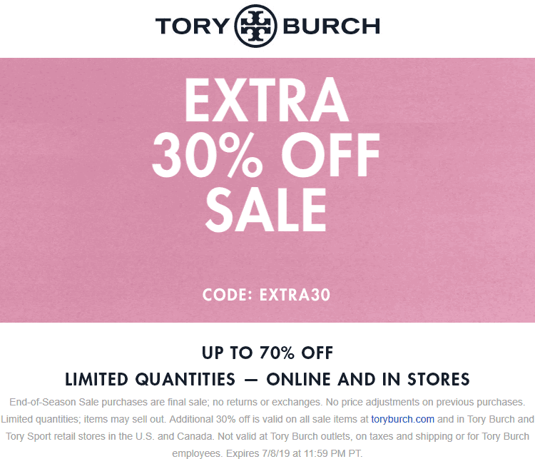 Tory Burch Coupon July 2020 Extra 30% off sale items at Tory Burch, or online via promo code EXTRA30