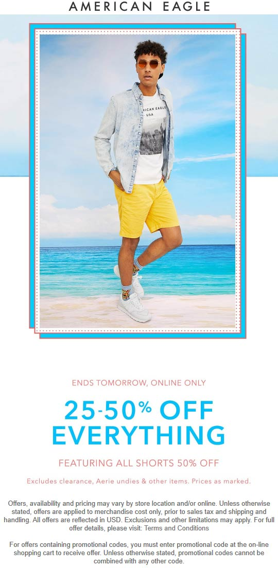 American Eagle Coupon July 2019 25-50% off everything online at American Eagle