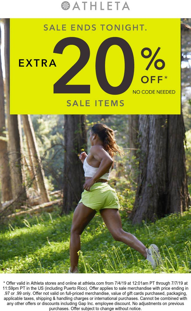 Athleta.com Promo Coupon Extra 20% off sale items today at Athleta, ditto online