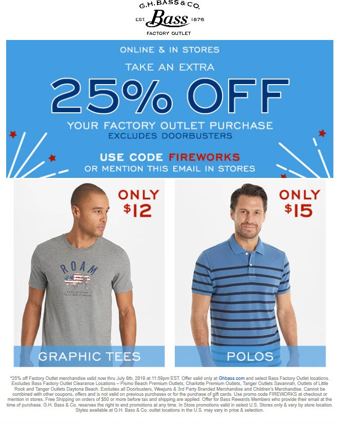 Bass Factory Outlet Coupon July 2019 Extra 25% off at Bass Factory Outlet, or online via promo code FIREWORKS