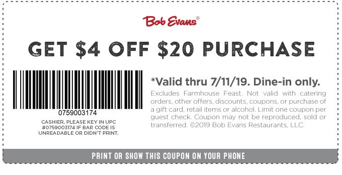 Bob Evans Coupon January 2020 $4 off $20 at Bob Evans restaurant