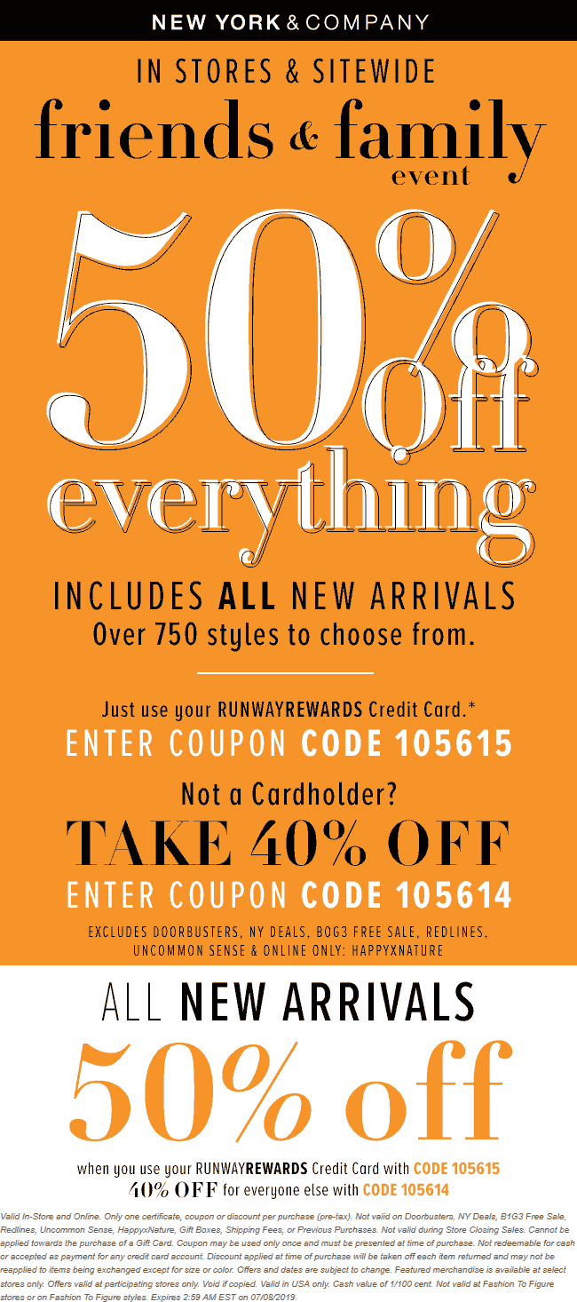 NewYork&Company.com Promo Coupon 40% off everything today at New York & Company, or online via promo code 105614