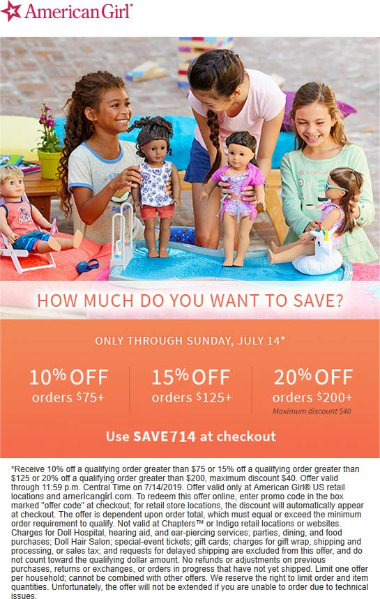 American Girl Coupon July 2019 10-20% off $75+ online at American Girl via promo code SAVE714
