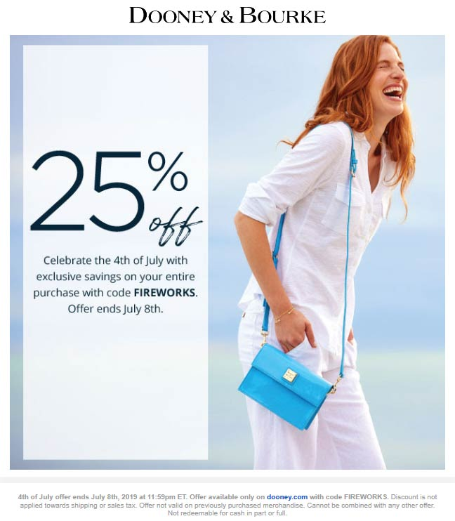 Dooney & Bourke Coupon November 2019 25% off online today at Dooney & Bourke via promo code FIREWORKS