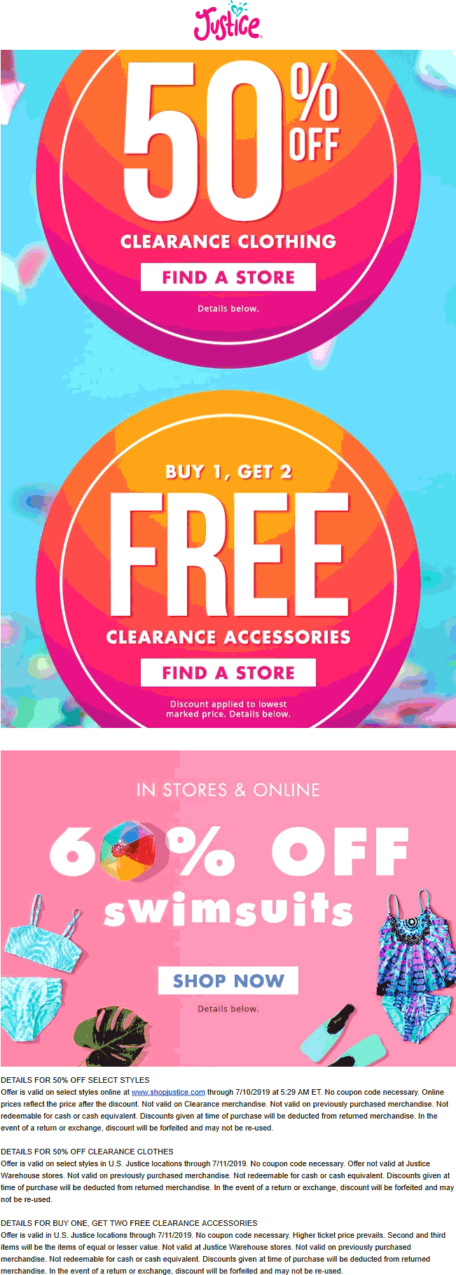 Justice Coupon September 2019 Extra 50% off clearance & more at Justice, ditto online