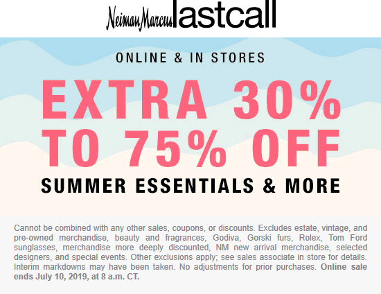 Last Call Coupon January 2020 Extra 30-75% off summer at Neiman Marcus Last Call, ditto online