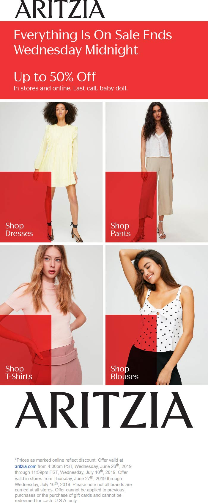 Aritzia Coupon July 2019 50% off sale going on at Aritzia, ditto online