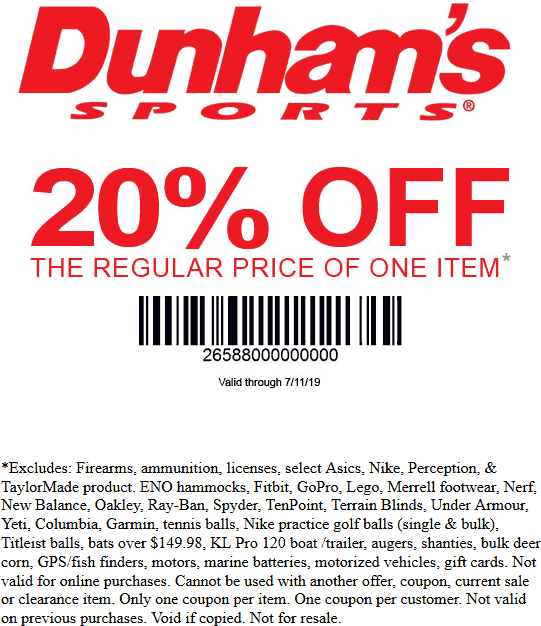 Dunhams Sports Coupon September 2019 20% off a single item at Dunhams Sports