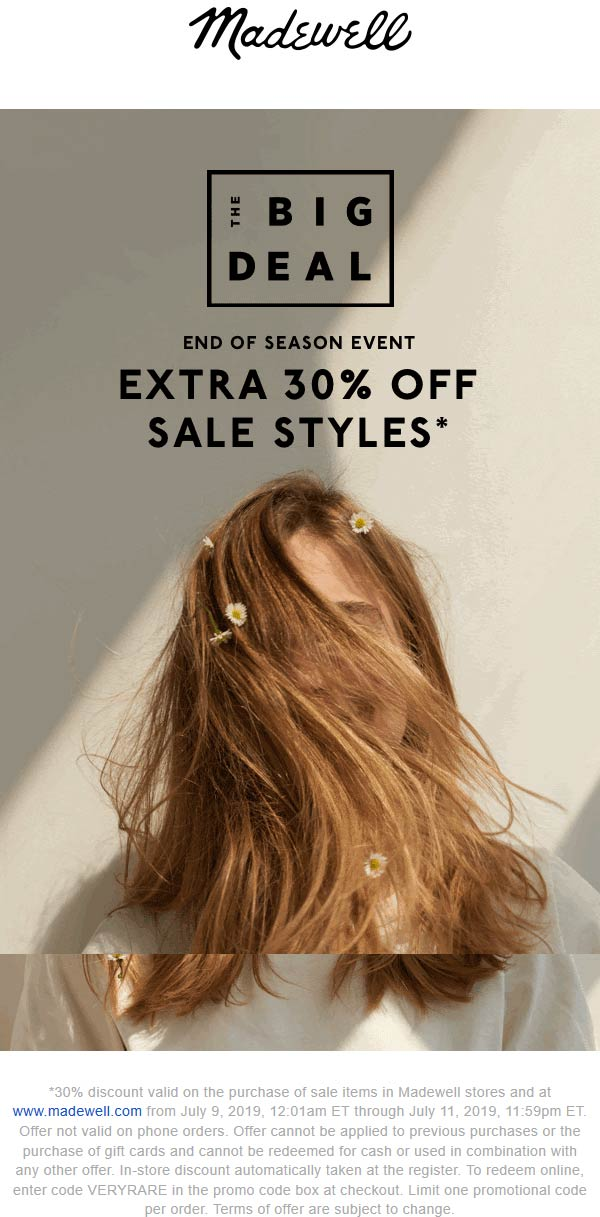 Madewell Coupon November 2019 Extra 30% off sale items at Madewell, or online via promo code VERYRARE