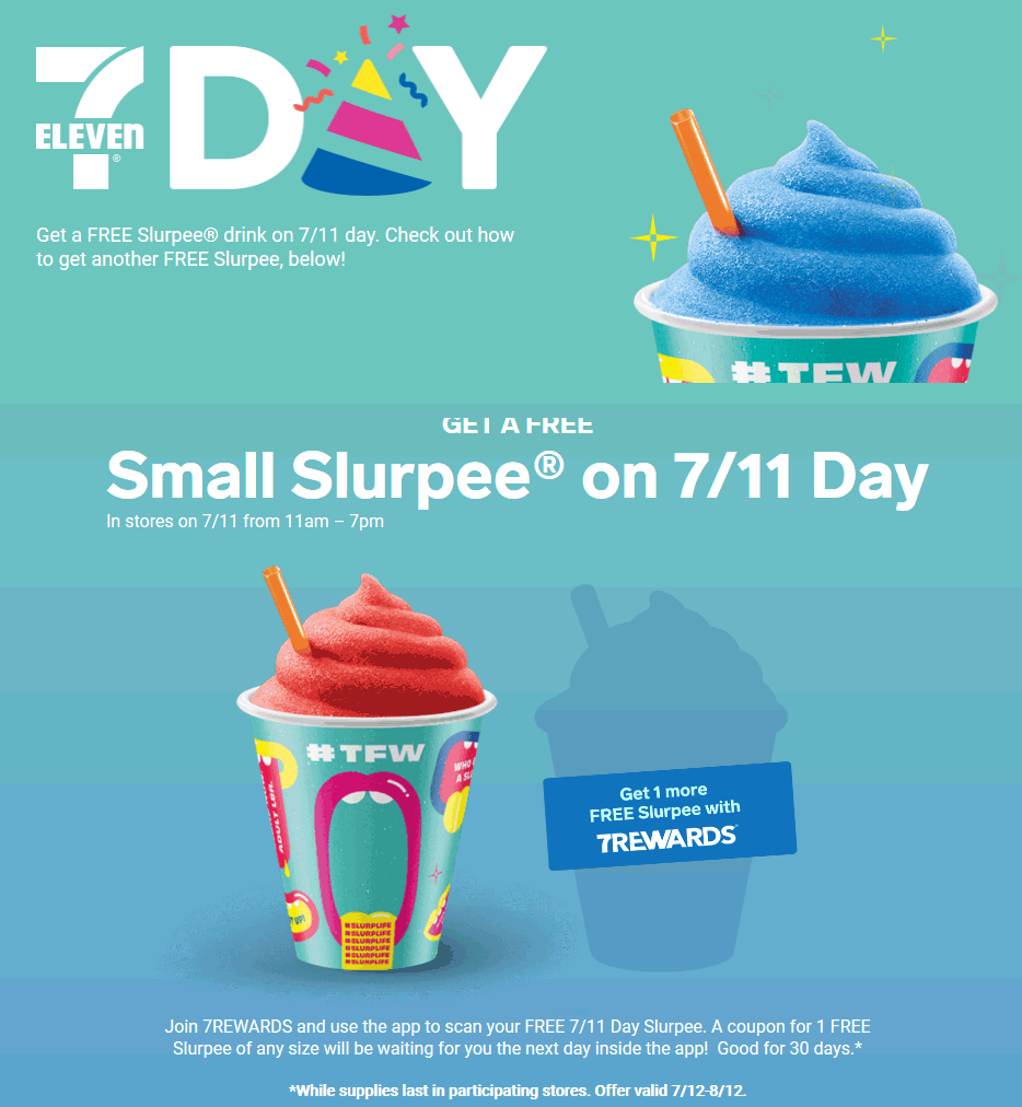7-Eleven.com Promo Coupon Free slurpee Thursday at 7-Eleven