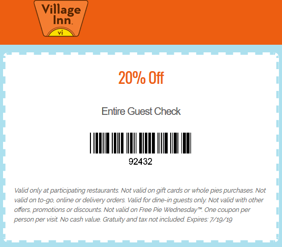 Village Inn Coupon August 2019 20% off at Village Inn restaurants