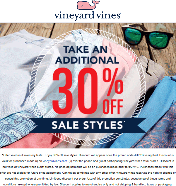 Vineyard Vines Coupon November 2019 Extra 30% off sale items today at Vineyard Vines, ditto online