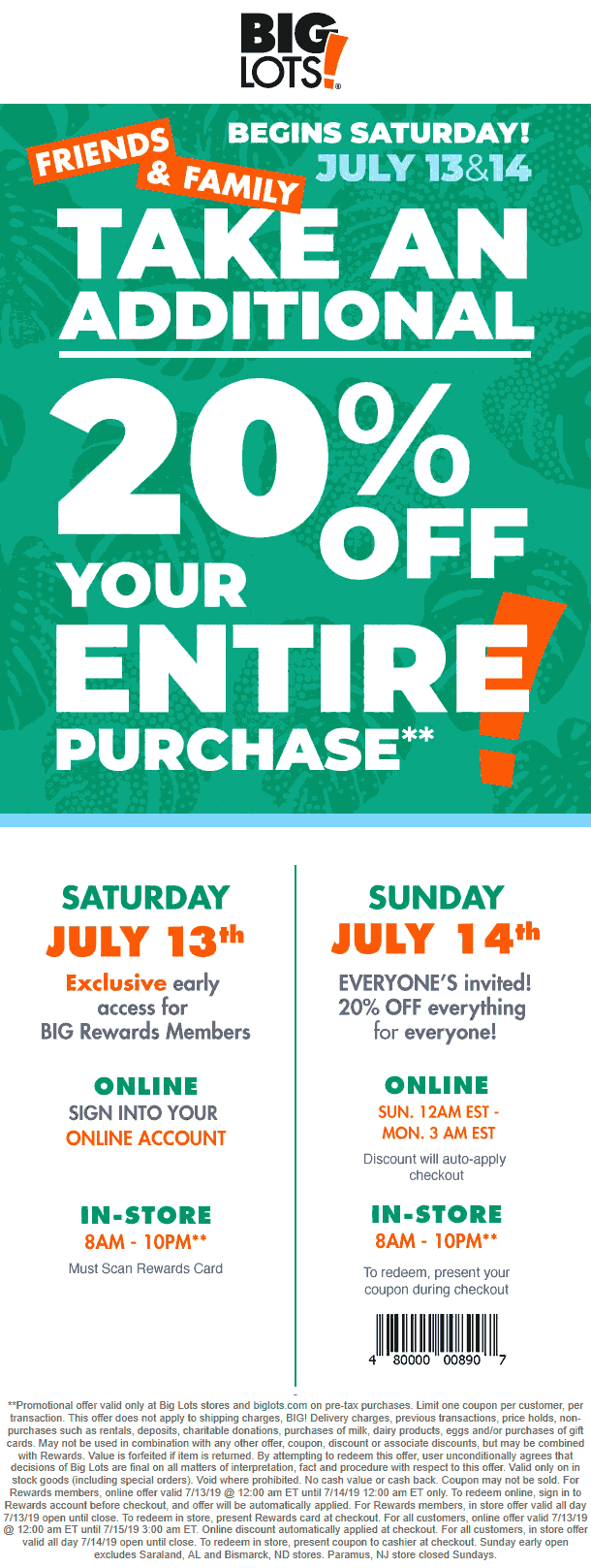 Big Lots Coupon January 2020 Extra 20% off this weekend at Big Lots, ditto online
