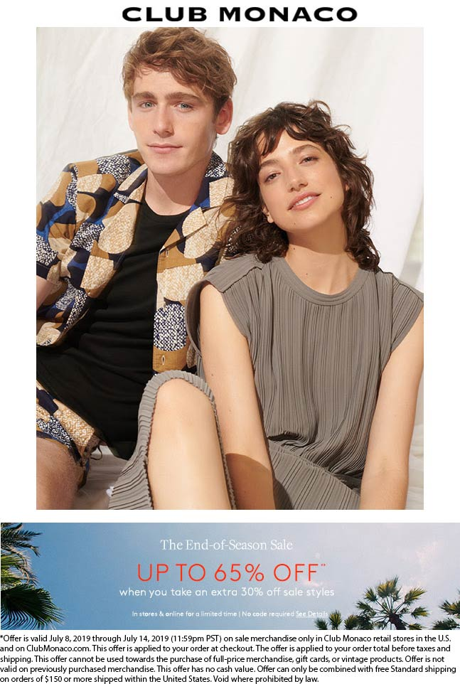 Club Monaco Coupon September 2019 Extra 30% off sale items at Club Monaco, ditto online