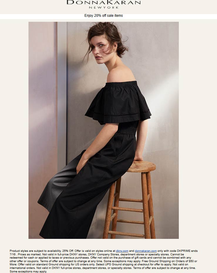 DKNY Coupon July 2019 Extra 20% off sale items online at Donna Karan & DKNY via promo code DKPRIME