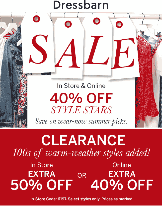 Dressbarn Coupon July 2020 40% off summer & 50% off clearance at Dressbarn, ditto online