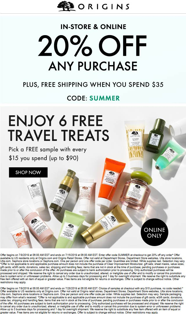 Origins Coupon July 2019 20% off at Origins, or online via promo code SUMMER