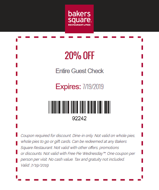 BakersSquare.com Promo Coupon 20% off at Bakers Square restaurants