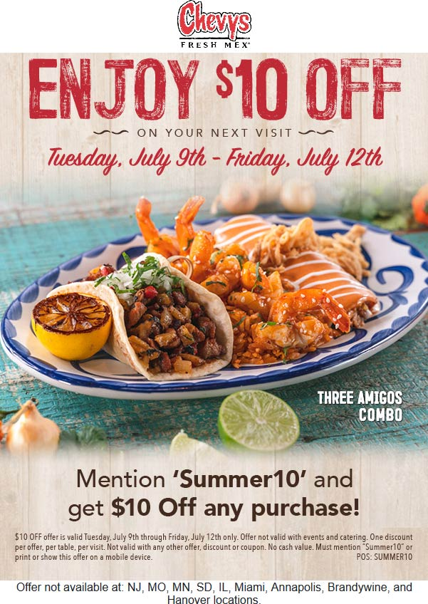 Chevys Fresh Mex Coupon July 2019 $10 off at Chevys Fresh Mex restaurants