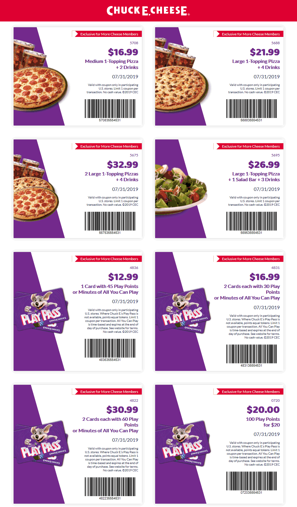 Chuck E. Cheese Coupon November 2019 100 play points for $20 & more at Chuck E. Cheese pizza