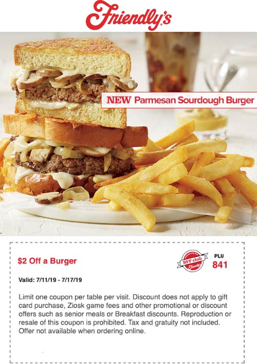 Friendlys.com Promo Coupon $2 off a burger at Friendlys restaurants