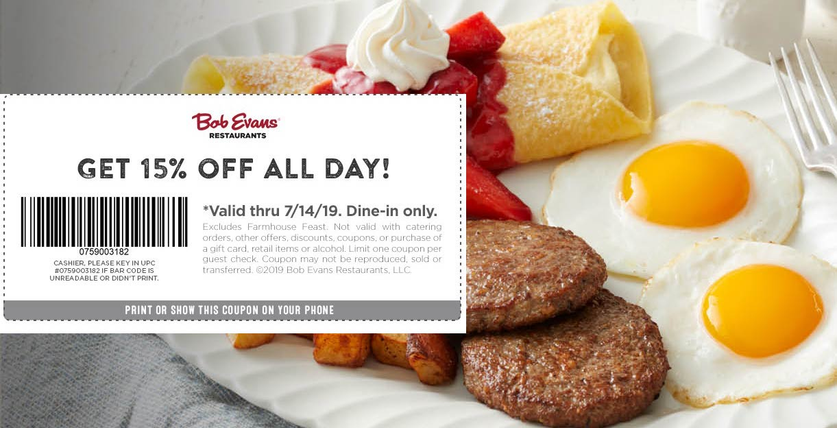 Bob Evans Coupon November 2019 15% off at Bob Evans restaurants