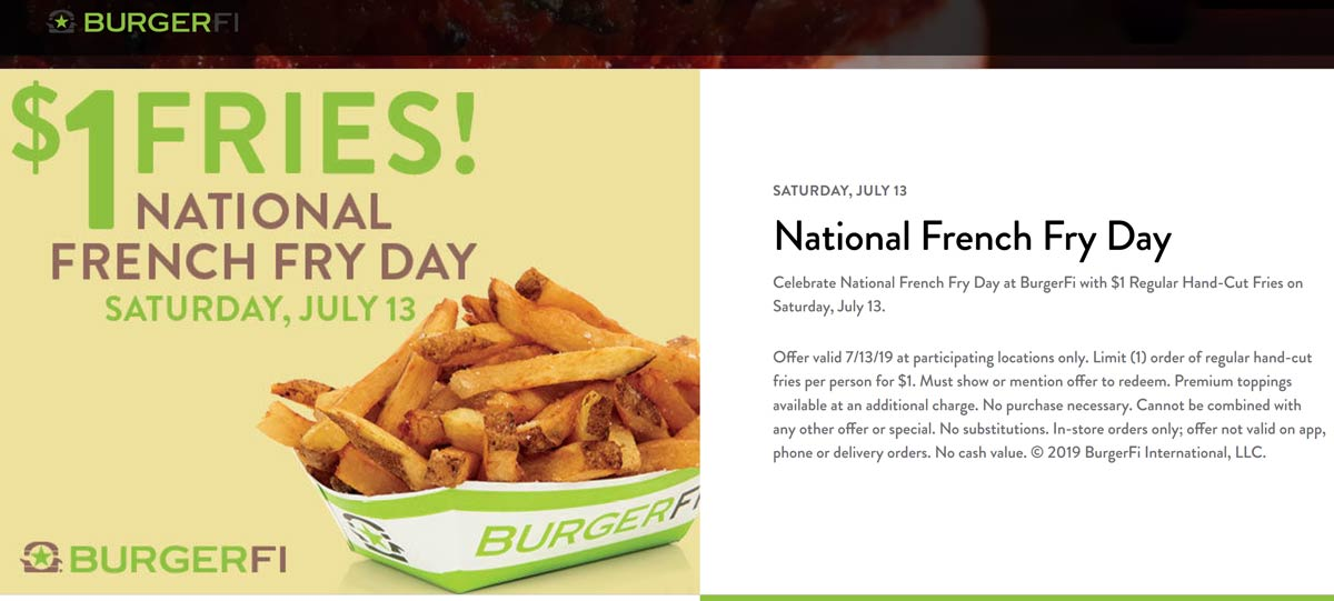 BurgerFi Coupon November 2019 $1 fries Saturday at BurgerFi restaurants