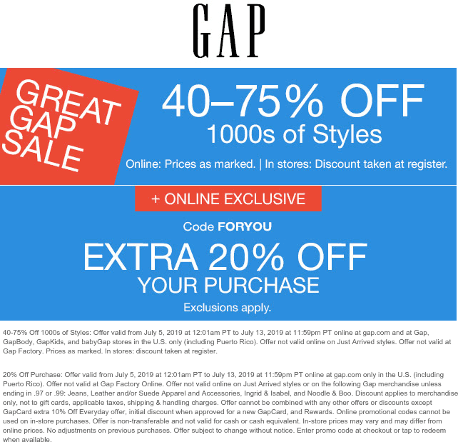 Gap coupons & promo code for [September 2020]