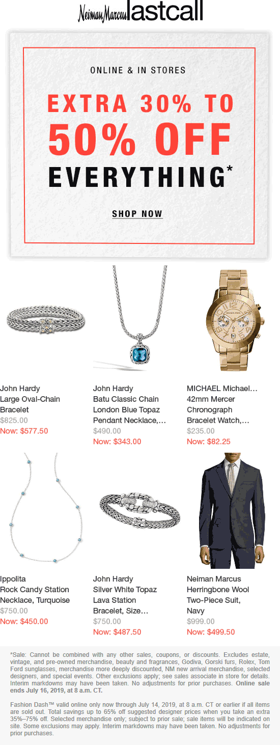 Last Call Coupon October 2019 30-50% off everything at Neiman Marcus Last Call, ditto online