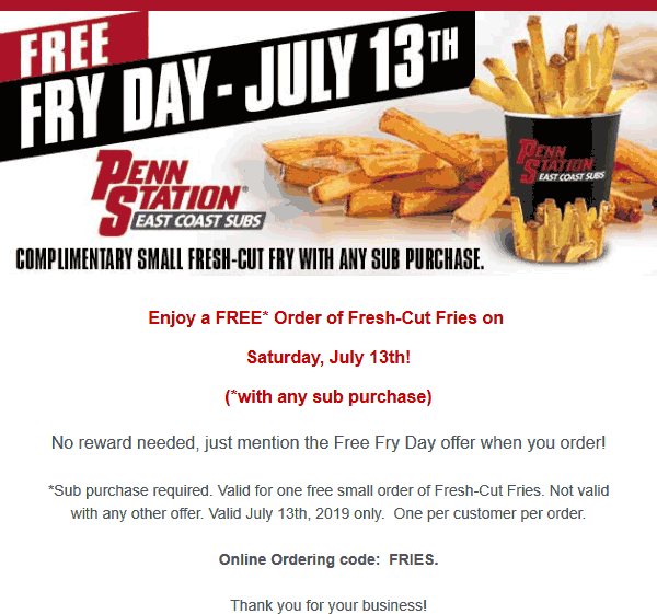 Penn Station Coupon September 2019 Free fries with your sub sandwich Saturday at Penn Station