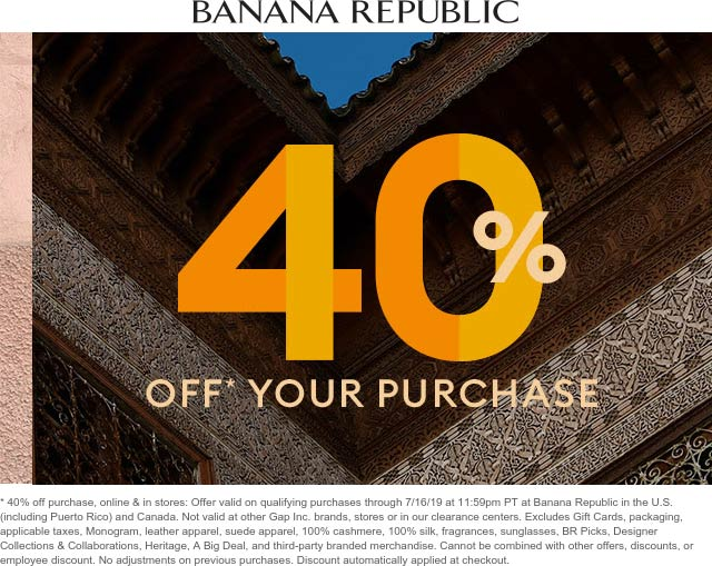 Banana Republic Coupon August 2019 40% off at Banana Republic, ditto online