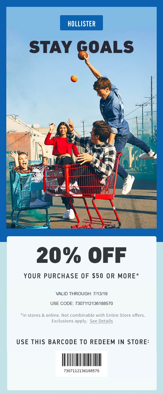 Hollister Coupon January 2020 20% off $50 today at Hollister, or online via promo code 7307112136188570