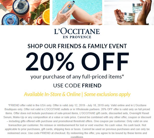 LOccitane Coupon August 2020 20% off at LOccitane, or online via promo code FRIEND