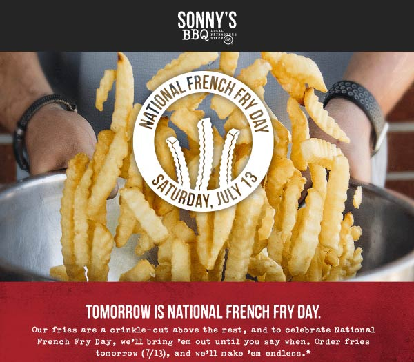 Sonnys BBQ Coupon September 2019 Bottomless french fries today at Sonnys BBQ