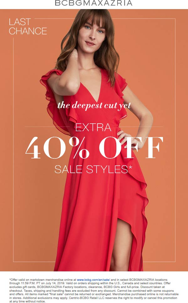 BCBG Coupon November 2019 Extra 40% off sale items today at BCBGMAXAZRIA, ditto online