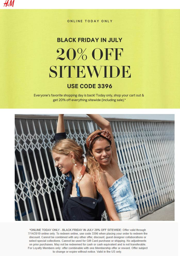 H&M Coupon July 2020 20% off everything online today at H&M via promo code 3396