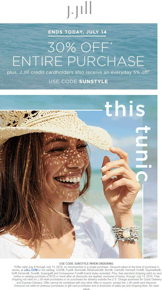 J.Jill Coupon January 2020 30% off today at J.Jill, or online via promo code SUNSTYLE