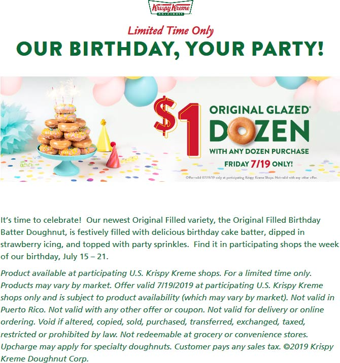 Krispy Kreme Coupon November 2019 Second dozen for $1 Friday at Krispy Kreme doughnuts