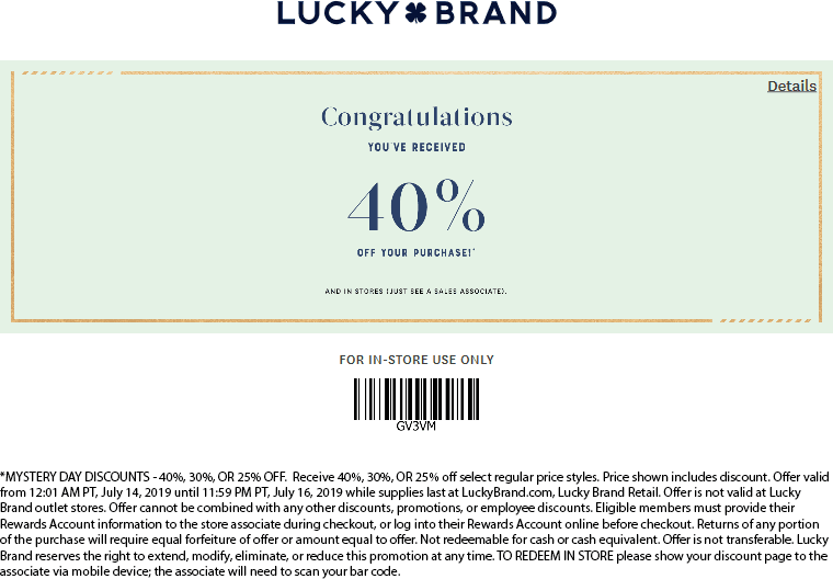 Lucky Brand Coupon August 2020 40% off at Lucky Brand