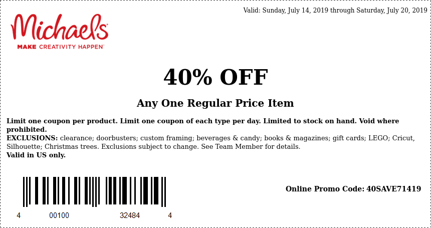 Michaels Coupon November 2019 40% off a single item at Michaels, or online via promo code 40SAVE71419