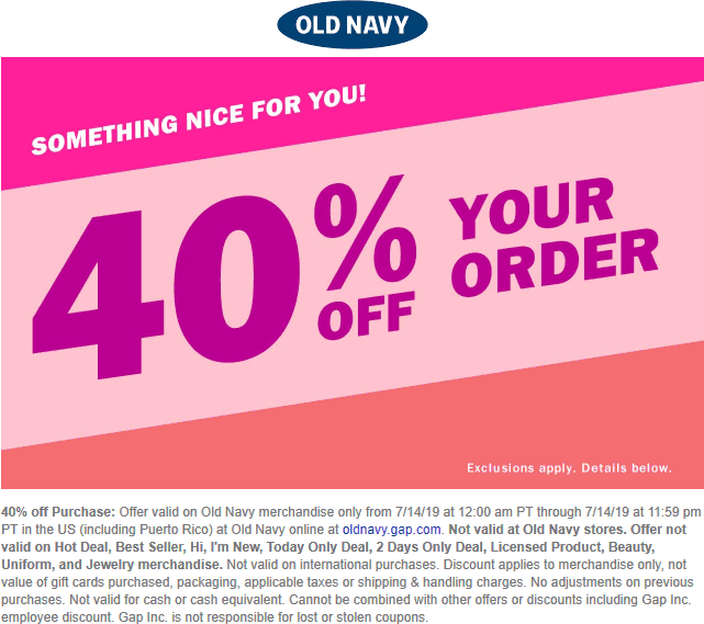 Old Navy Coupon October 2019 40% off online today at Old Navy, no code needed