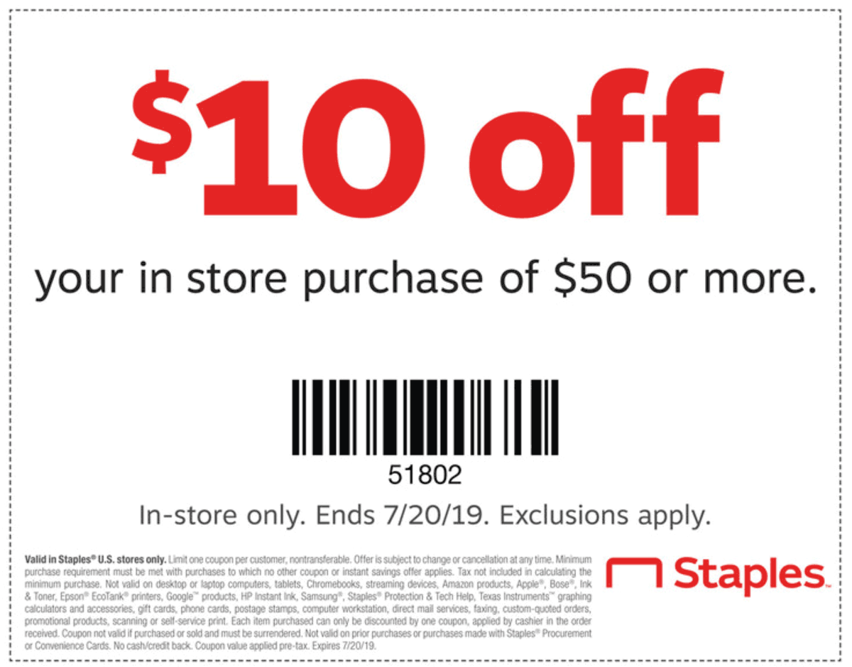 Staples.com Promo Coupon $10 off $50 at Staples