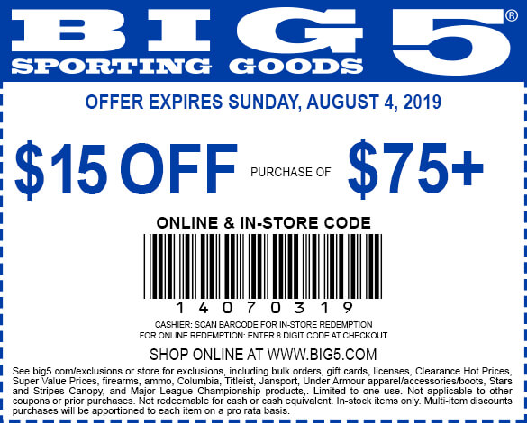 Big5.com Promo Coupon $15 off $75 at Big 5 sporting goods, or online via promo code 14070319
