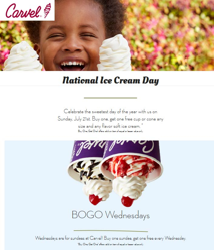 Carvel.com Promo Coupon Second cup or cone free Sunday at Carvel ice cream