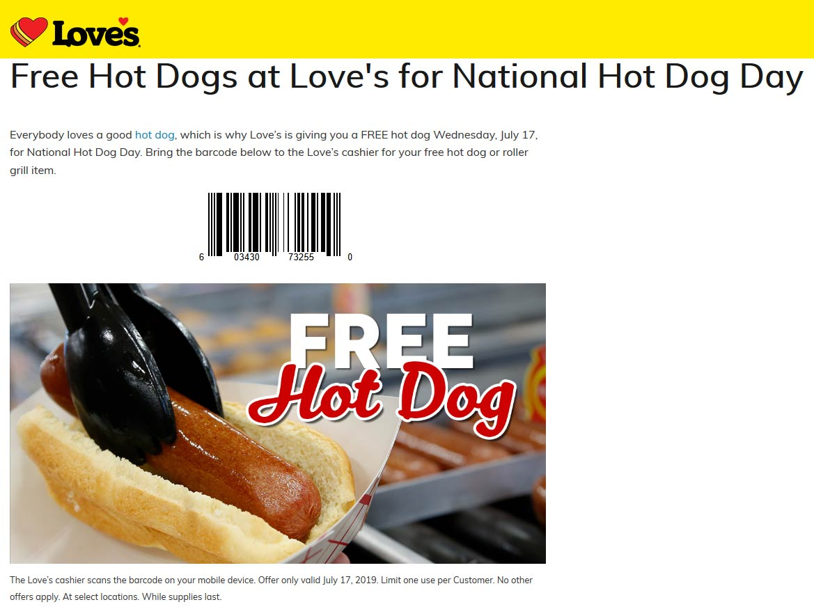 Loves Coupon November 2019 Free hot dog Wednesday at Loves gas stations