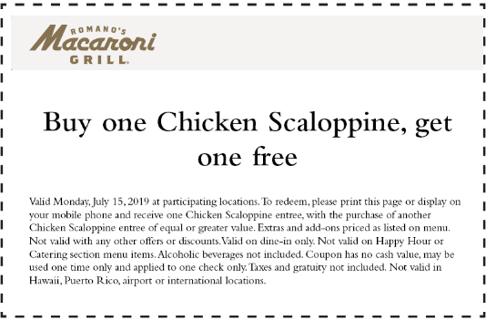 MacaroniGrill.com Promo Coupon Second chicken scaoloppine free today at Macaroni Grill restaurants