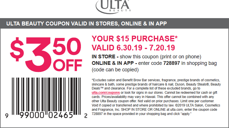 Ulta Coupon October 2019 $3.50 off $15 at Ulta Beauty, or online via promo code 728897