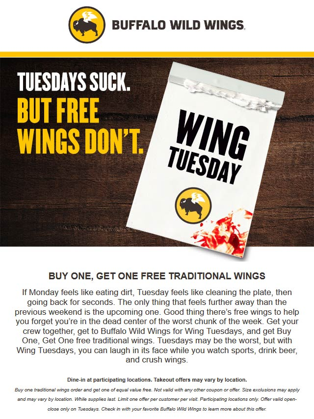 Buffalo Wild Wings Coupon August 2019 Second wings free today at Buffalo Wild Wings restaurants